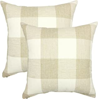 YOUR SMILE Retro Farmhouse Tartan Checkers Plaid Cotton Linen Decorative Throw Pillow Case Cushion Cover Pillowcase for Sofa 18 x 18 Inch, Set of 2, Beige/White