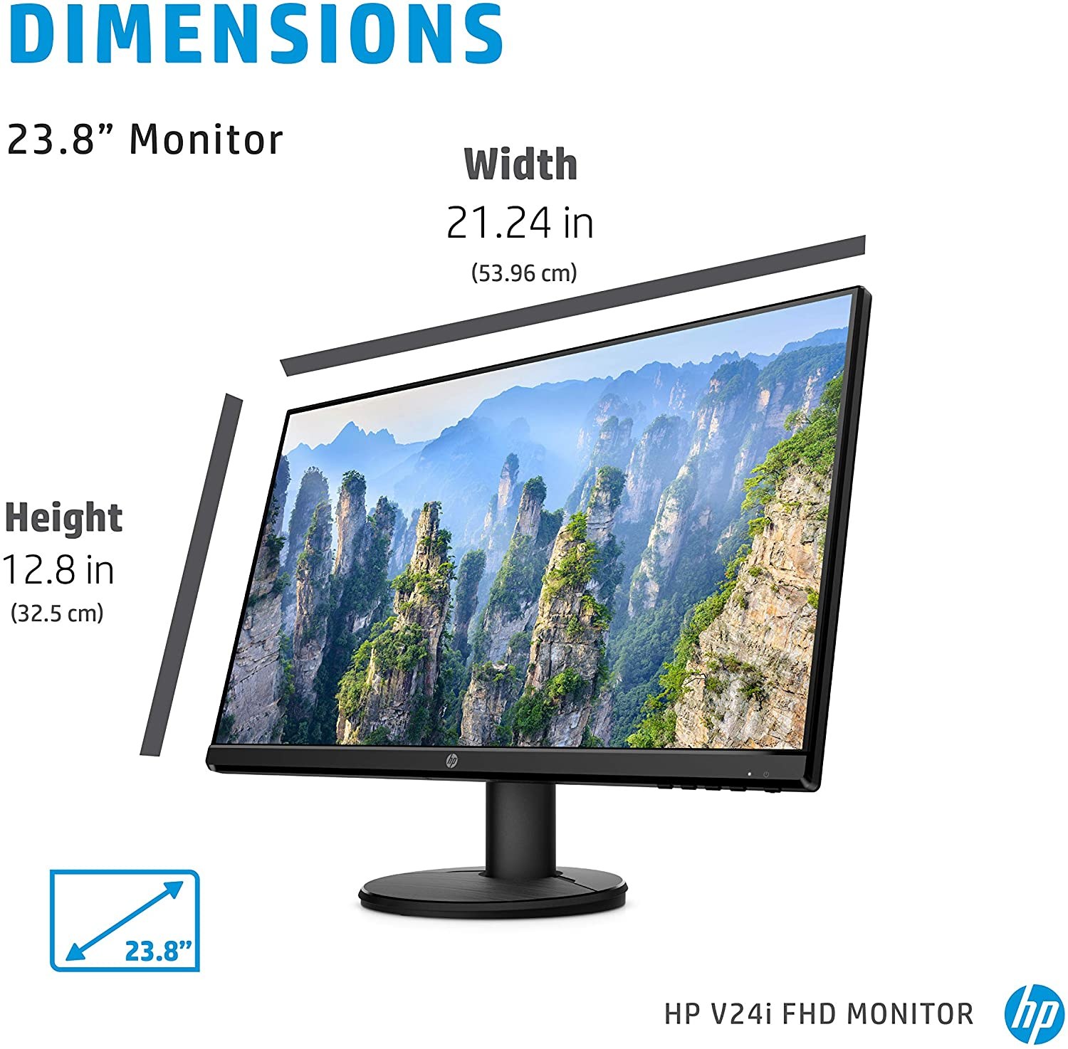 HP V24i FHD Monitor | 23.8-inch Diagonal Full HD Computer Monitor with IPS Panel and 3-Sided Micro Edge Design | Low Blue Light Screen with HDMI and VGA Ports | (9RV15AA#ABA)