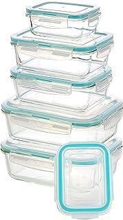 KICHLY Recipiente - Contenedor de Almacenamiento de Alimentos de Vidrio - 12 piezas (6 envases + 6 tapas) Tapas transparentes - Sin BPA - Para la Cocina o el Restaurante de Uso Doméstico