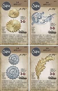 Tim Holtz 3-D Impresslits Embossing Folders - Burst, Laurel, Medallion and Flourish - 4 item bundle
