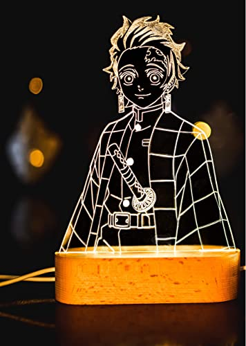 wholesale Demon Slayer, Kimetsu no Yaiba, Anime Character Led Light, Wooden Base and Acrylic Plate with Laser Engraving, 3D Custom LED Lamp, 16 lowest Colors with new arrival Remote (Tanjiro kamado) online