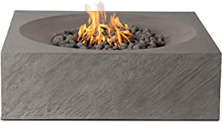 Pyromania Paloma Outdoor Fire Pit Table. Hand Crafted from Concrete. 60,000 BTU Stainless Steel Burner with Electronic Ignition - Natural Gas Model, Slate Color (Lava Rock Included)