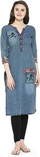 Sheknows Fusion Wear Cotton Blue Denim Straight Kurta