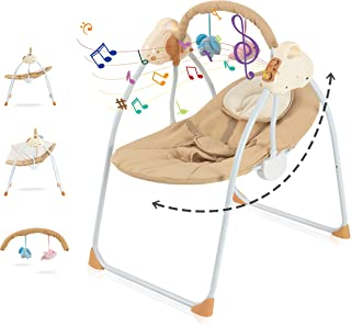 Baby Swing Cradle Bed Comfort Electric Baby Rocking Chair Multifunction Bedside Bassinet -Portable Bouncer with Remote Con...