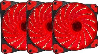 Apevia APEVIA AF312L-SRD 120mm Red LED Ultra Silent Case Fan w/ 15 LEDs & Anti-Vibration Rubber Pads (3-pk)
