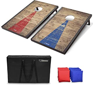 GoSports Classic Cornhole Set - Includes 8 Bean Bags, Travel Case and Game Rules (Choose between American Flag, Football, Rustic, and Classic Designs)