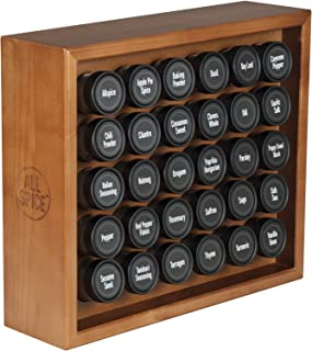AllSpice Wooden Spice Rack, Includes 30 4oz Jars- Cherry