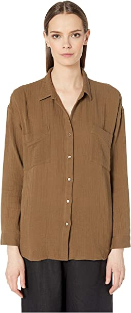 69b8c41416e381 Pine Needle. 1. Eileen Fisher. Organic Cotton Lofty Gauze Classic Collar  Shirt