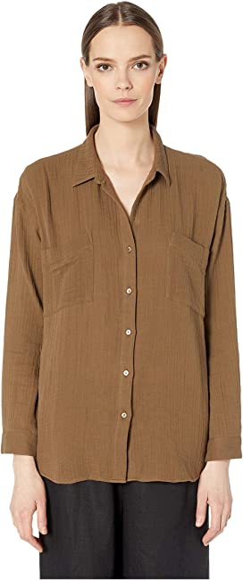 bd33b68e Eileen Fisher Organic Handkerchief Linen Classic Collar Shirt at ...