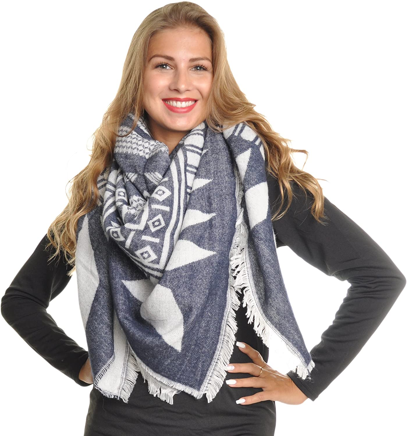 Angelina Womens Printed Blanket Scarf with Fringe Edge