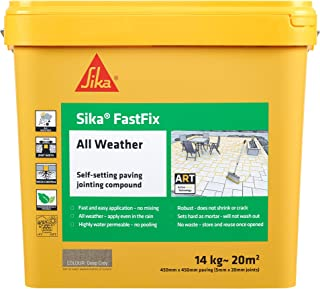Sika FastFix All Weather Self-Setting Paving Jointing Compound, Deep Grey, 14 kg - 20 sq.m