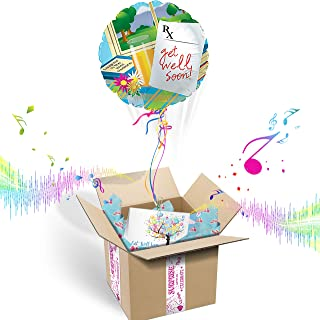 Balloons in the Box Get Well Soon Inflated Helium Balloon Care Package | Includes Coordinating Customizable Greeting Card | Pops Out of The Box & Plays A Happy Jingle When Opened