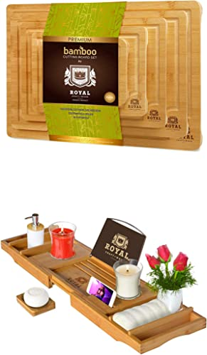 2021 Bamboo Cutting discount Board with Juice Groove (5-Piece) and Luxury Bathtub Caddy sale Tray outlet online sale