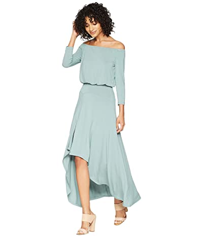 American Rose Kai 3/4 Sleeve Off the Shoulder Dress (Sea Green) Women