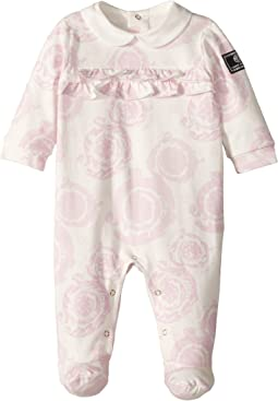 Versace Kids All Over Barocchino Print Collar Footie (Infant)