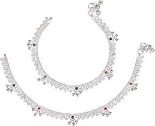 AanyaCentric Indian Traditional White Metal Anklets Payal Pair for Women Girls Fancy Collection with Silver Plating Attached Ghungroo Fashion Designer Barefoot Foot Jewellery
