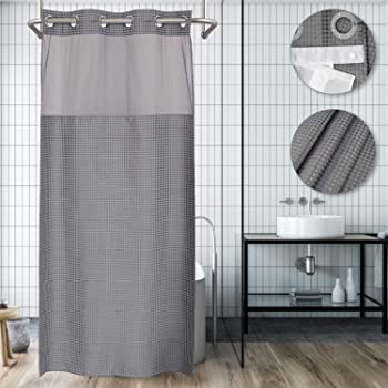 No Hooks Needed Shower Curtain with Snap in Liner Stall Size with Window,Hotel Grade,Small Size,Gray,Spa Like,36W x 74L inch