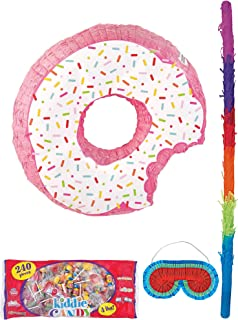 Party City Donut Pinata Supplies, Include a Pinata, a Colorful Pinata Stick, a Blindfold, and 4 Pounds of Candy