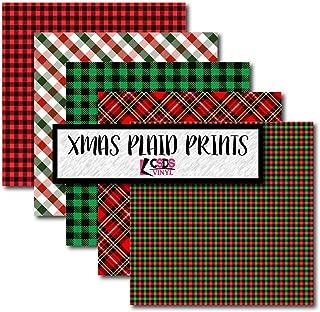 CSDS Vinyl Christmas Plaid Bundle Pack, Plaid Printed Vinyl, Patterned Adhesive Vinyl Red and Green, Christmas Plaid Patterned Vinyl (Adhesive Vinyl)