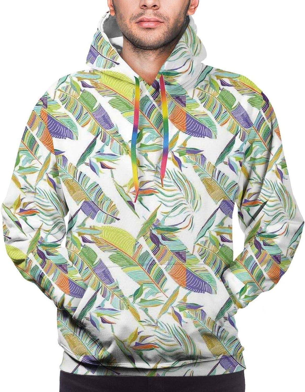 Men's Hoodies Sweatshirts,Exotic Jungle Bird Toucan in Artistic Watercolors Perching Macaw Beak Summer Nature