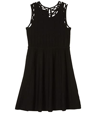Milly Minis Contrast Trim Fit-and-Flare Dress (Big Kids) (Black) Girl