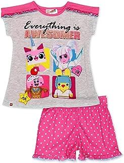 Lego Movie 2 The Second Part 2 Piece Girl's Short Sleeve Tee Shorts Pajamas Set