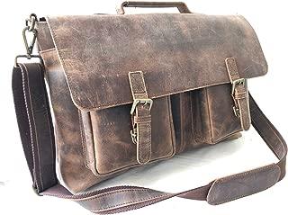 本革ヴィンテージメッセンジャーバッグ ノートパソコン用ブリーフケース アンティーク調のコンピューターサッチェル