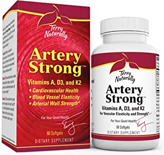 Terry Naturally Artery Strong - 60 Softgels - Vitamin A, D3 & K2 Supplement, Promotes Vascular Energy & Strength, Supports...