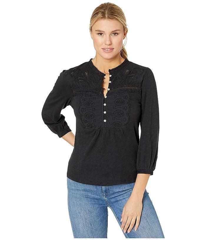 Lucky Brand  Applique Bib Henley Top (Lucky Black) Womens Clothing