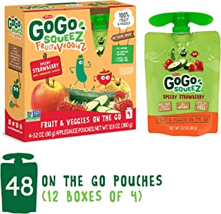 GoGo Squeez Fruit & VeggieZ on the Go, Apple Zucchini Strawberry, 3.2 Ounce (48 Count), Gluten Free, Vegan Friendly, Healthy Snacks, Unsweetened, Recloseable, BPA Free Pouches