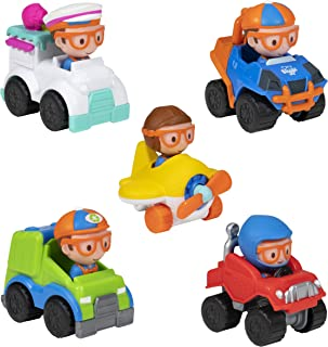 Blippi Mini Mobiles, 5 Pack Mini Vehicles - Features Character Toy Figure In Each Vehicle: Mobile/Car, Monster Truck, Recycle Truck, Ice Cream Truck, and Airplane - Educational Toys for Young Children