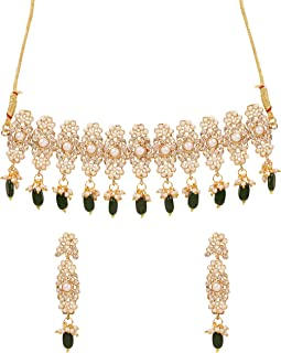 """Touchstone """"Mughal Jali Collection Gold Tone Indian Mughal Bollywood White Diamante Jewelry Choker Set for Women"""