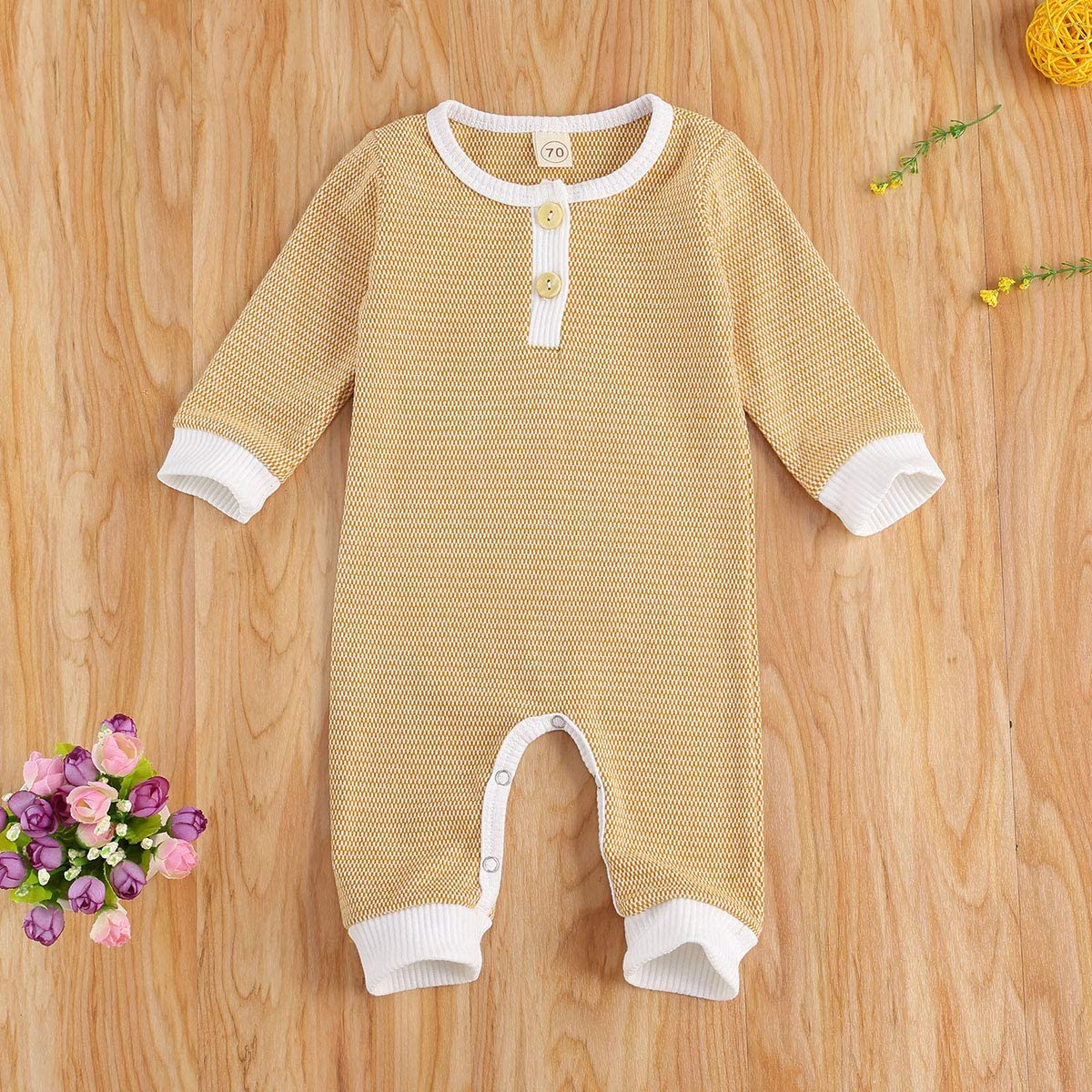 niceclould Newborn Baby Boy Girl Knitted Romper Jumpsuit Solid Long Sleeve Legging Bodysuit Playsuit Clothes Winter 0-18M