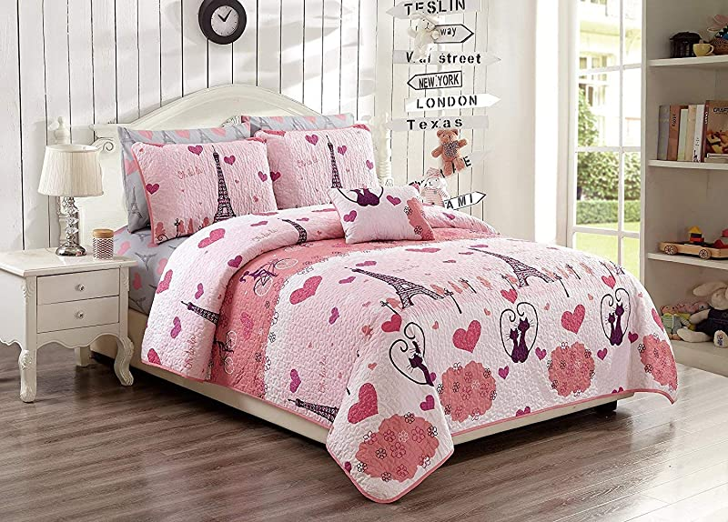 Elegant Home Paris Eiffel Tower Bonjour Design Pink White Printed Reversible Cozy Colorful 4 Piece Quilt Bedspread Set With Pillowcases And Decorative Pillow For Kids Girls Full Queen