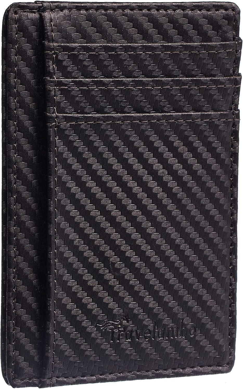 Travelambo Front Pocket Minimalist Leather Slim Wallet RFID Blocking Carbon Fiber Texture(Metal Gun)