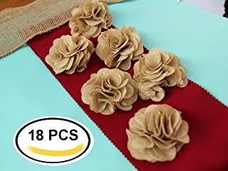 3 Inches Burlap Rustic Flowers Rose (18 Pcs) Chic Wedding Decor Craft Country Natural