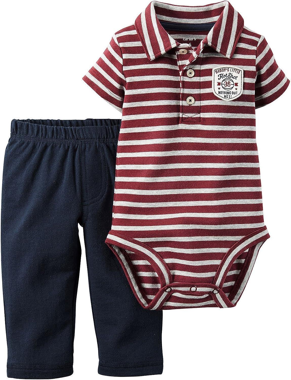 Carter's Baby Boys 2-Piece S/S Striped Polo Bodysuit & Pants Set