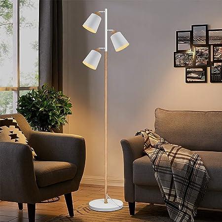 ZMH Lampadaire moderne de salon avec 3 flammes flexibles pour le cou et les yeux pour chambre et bureau Douille E27 max 25W hauteur 166cm couleur blanc et bois lampadaire lampe de salon