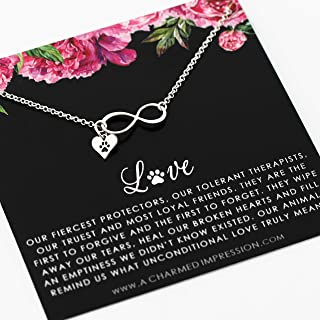 Gift for Dog Lover Women • Cat Lover Jewelry • Sterling Silver Pet Necklace • Infinity Paw Print Charm • Animal Lover Gifts • Cat Dog Mom • Memorial Necklace • Heart Pawprint Jewelry Gift for Women