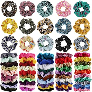 65Pcs Hair Scrunchies Velvet,Chiffon and Satin Elastic Hair Bands Scrunchie Bobbles Soft Hair Ties Ropes Ponytail Holder H...