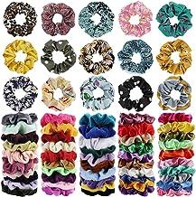 65Pcs Hair Scrunchies Velvet,Chiffon and Satin Elastic Hair Bands Scrunchie Bobbles Soft Hair Ties Ropes Ponytail Holder H...