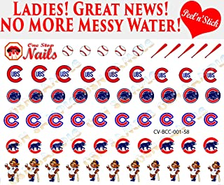 Chicago Cubs clear vinyl PEEL and STICK (NOT Waterslide) nail decals/stickers