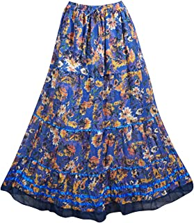 Mogul Interior Womens Maxi Skirt Blue Floral Printed Bohemian Beach Full Flare Long Skirts S/M
