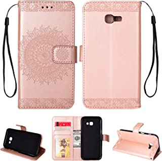 Galaxy A5(2017) Case, Folice Mandala Flower Pattern [Shock Absorbent] PU Leather Kickstand Wallet Cover Durable Flip Case for Samsung Galaxy A5(2017) (Rose Gold)