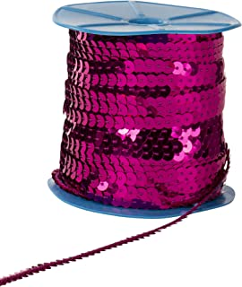 Paillettes Sequins Roll - 6mm Flat Sequin Trim, Sequin String Ribbon Roll for Crafts, DIY Projects, Embellishments, Costume Accessories, Fuchsia, 100 Yards