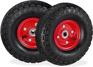 2x steekwagenwiel 4.1/3.5-4, reserve luchtbanden, 16 mm as, tot 136 kg, 260x85mm, stalen velg, zwart/rood