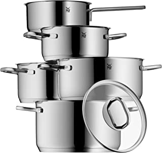 WMF 1730156380 Intension and Pouring Spout Pot Set Glass Lid Cromargan Induction-Safe/Dishwasher Safe 5-Piece Cookware Set, Stainless Steel, Polished, Silver, 57,3 x 30 x 23 cm