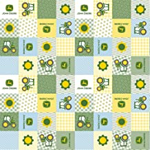 John Deere Born to Farm Patch in Yellow/Blue/Green 100% Cotton Fabric by The Yard