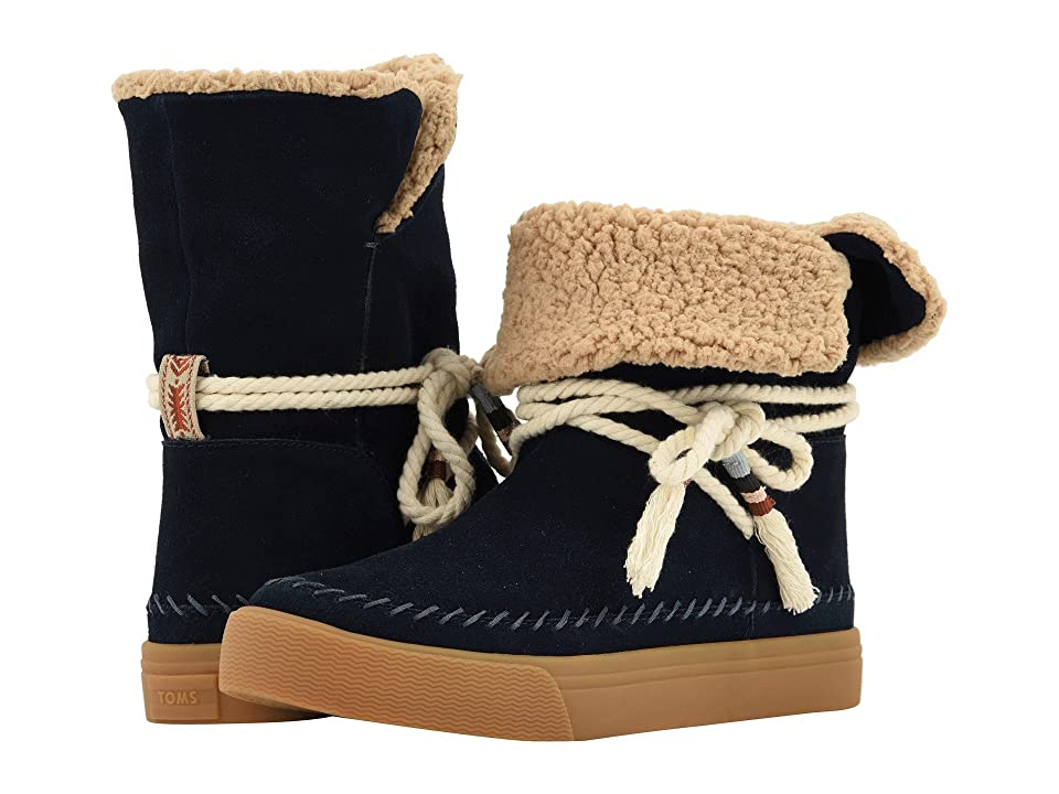 TOMS Vista Water-Resistant Boot (Navy Suede/Faux Shearling) Women