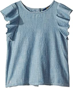 Chambray Flutter-Sleeve Top (Toddler)